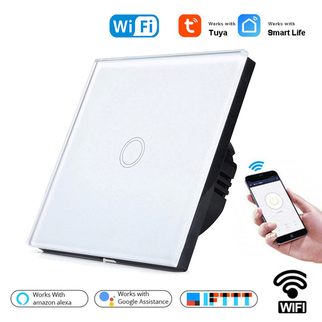 1/2/3 Gang 1 Way Tuya WiFi Smart Switch Wall Light Switch WiFi Single live line for application without neutral wire