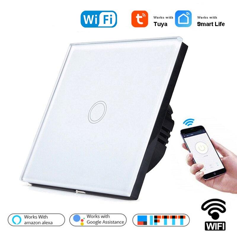 1/2/3 gang 1 way tuya wifi interruptor de luz de parede inteligente wi fi única linha ao vivo para a aplicação sem fio neutro