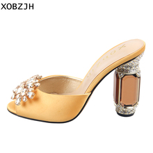 High Heels Women Sandals Shoes 2019 Luxury Genuine Leather Ladies Rhinestone Yellow Wedding Shoes Woman Open Toe Plus Size Us 11 цена в Москве и Питере
