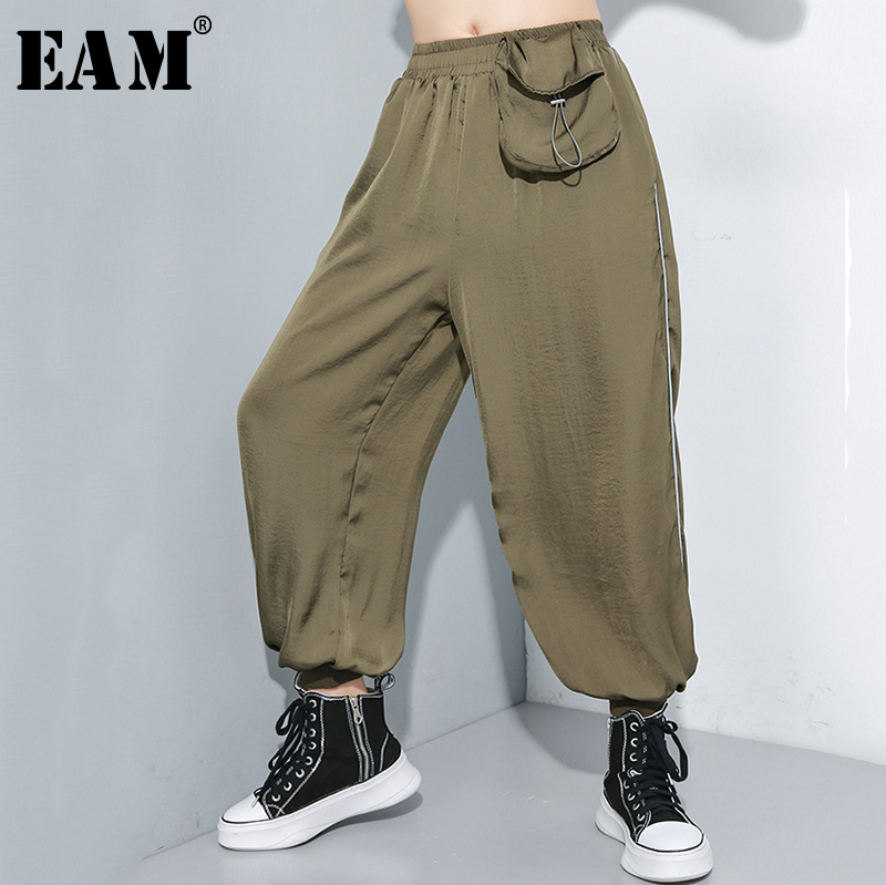 [EAM] 2019 New Autumn Winter High Elastic Waist Letter Printed Zipper Stitch Loose Harem Pants Women Trousers Fashion Tide JQ854