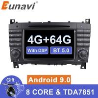 Eunavi 2 din Android 9 Car multimedia Dvd GPS Radio For Mercedes/Benz W203 W209 W219 W169 A160 C180 C200 C230 C240 CLK200 CLK22