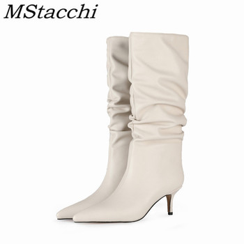 Mstacchi Sexy Folds Boots Thin Heel Plush In Solid Color Woman Large Size 2020 The New Concise Design Madam Shoes Calzado Mujer
