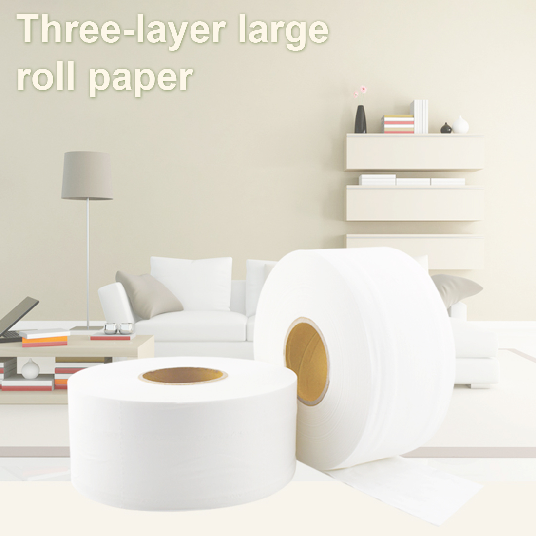 2pcs 580g/roll 900+ Sheet Jumbo Roll White Toilet Tissue Soft Hollow Replacement Roll Paper Toilet Paper  For Home Public Hotel