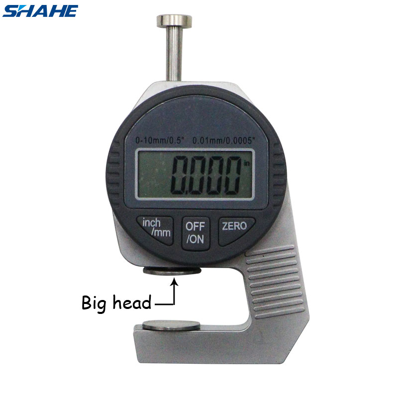 Shahe Portable Mini Precise Digital Thickness Gauge Meter Tester Micrometer Thickness Big Head 0 - 12.7 Mm
