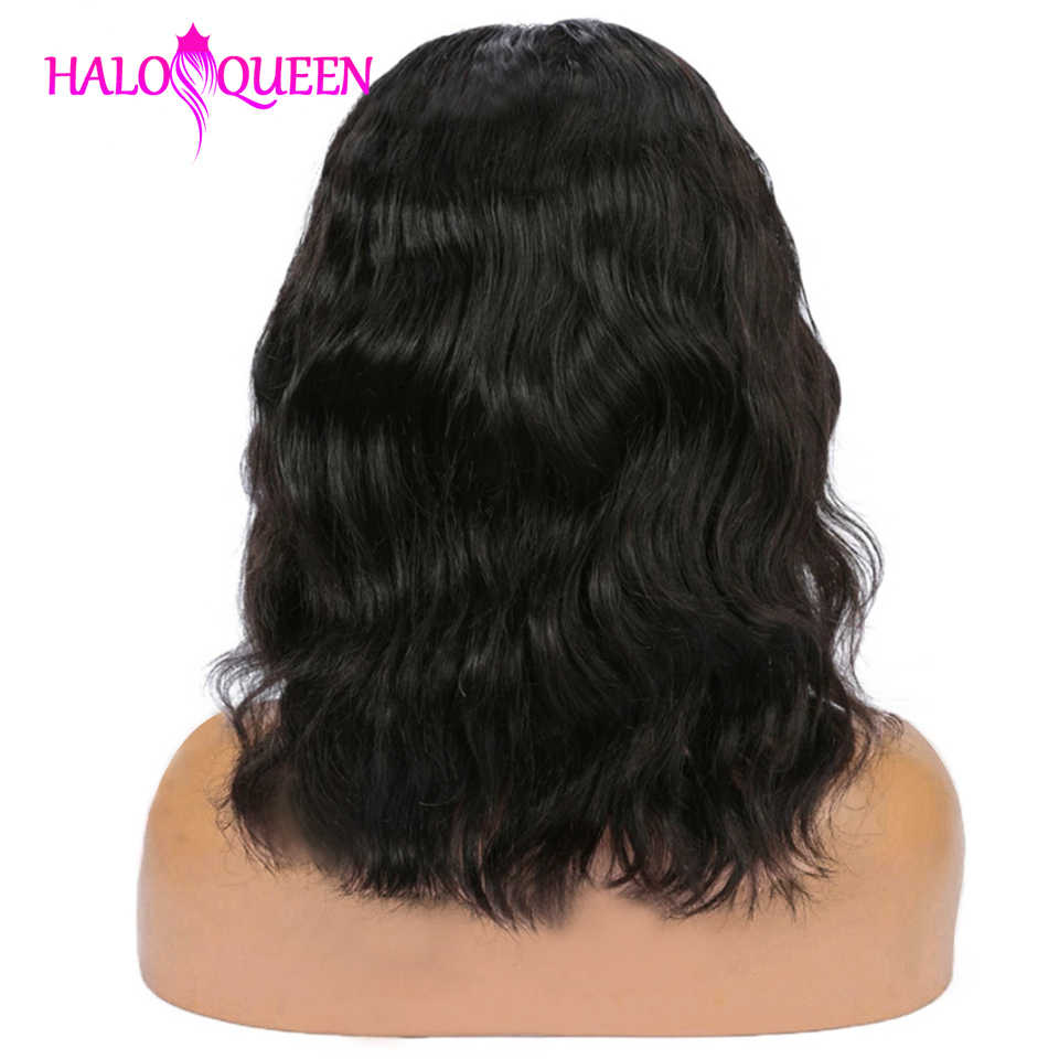 HALOQUEEN peruka Body Wave peruka krótka brazylijski pre oskubane koronki przodu włosów ludzkich peruk 130% Remy ludzki włos koronki peruki 13x4 koronki przodu włosów ludzkich peruk