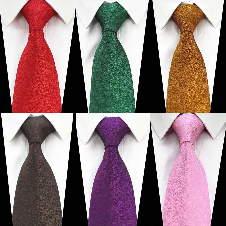 Ricnais Fashion 8cm Silk Formal Tie Red Green Solid Necktie For Mens Jacquard Gravata Suit Business Wedding Accessories Neck Tie