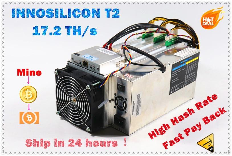 Utilisé INNOSILICON T2 17.2TH/s avec PSU Asic BTC BCH Bitcion Miner mieux que le mineur M3X M3X M20S Antminer S9 T17 S17 S17e S17 +