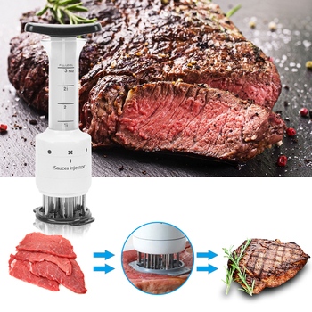 New 2in1 Stainless Steel Meat Tenderizer Needles Spice Syringe BBQ Turkey Flavor Injector Kitchen Cooking Sauce Marinade Accesso