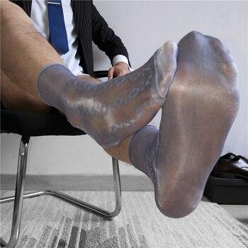 Tube Socks Men's Stocking Business Dress Stockings Sheer Socks Exotic Formal Wear Sheer Sock Suit Men Sexy Transparent TNT Socks