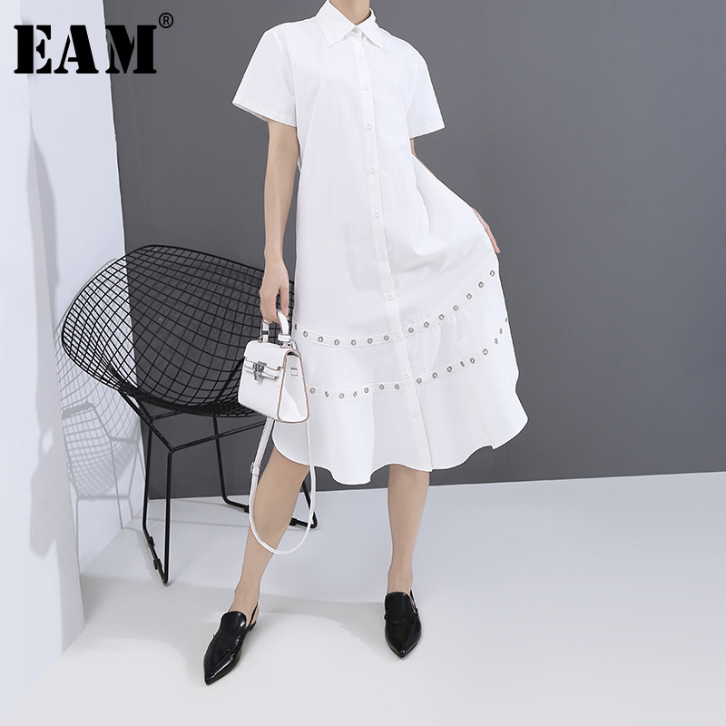 [EAM] Women White Hollow Out Split Joint Shirt Dress New Lapel Short Sleeve Loose Fit Fashion Tide Spring Summer 2020 1T454