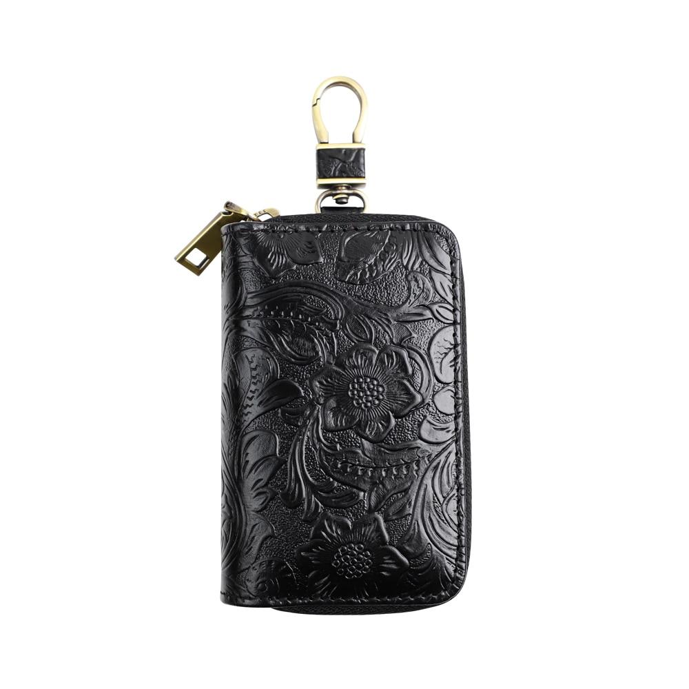 Unisex Cowhide Car Smart Key Wallet Multi-function Door Key Case Genuine Leather Keychain Housekeeper Bag