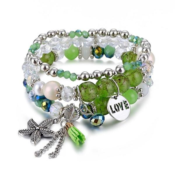 Классический Набор браслетов «Древо жизни» для женщин, многослойный винтажный браслет из натурального камня в виде листьев, браслеты и браслеты, ювелирные изделия, подарки - Окраска металла: 6584