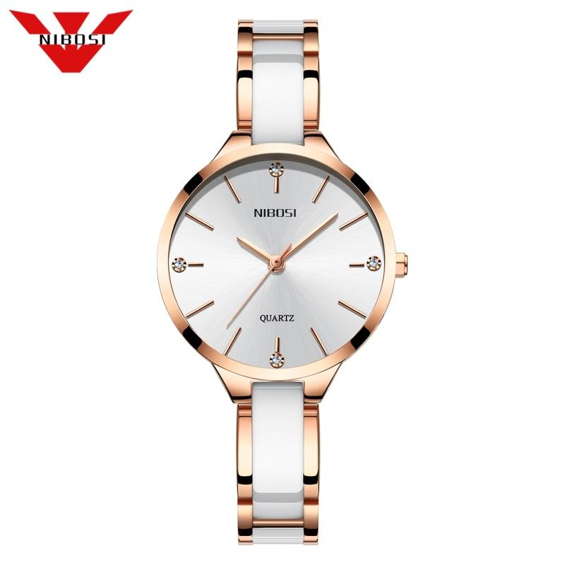 NIBOSI Women Watch Ceramic Watch Women Simple Diamond Clock Casual Fashion Watch Sport Waterproof Wristwatch Relogio Feminino