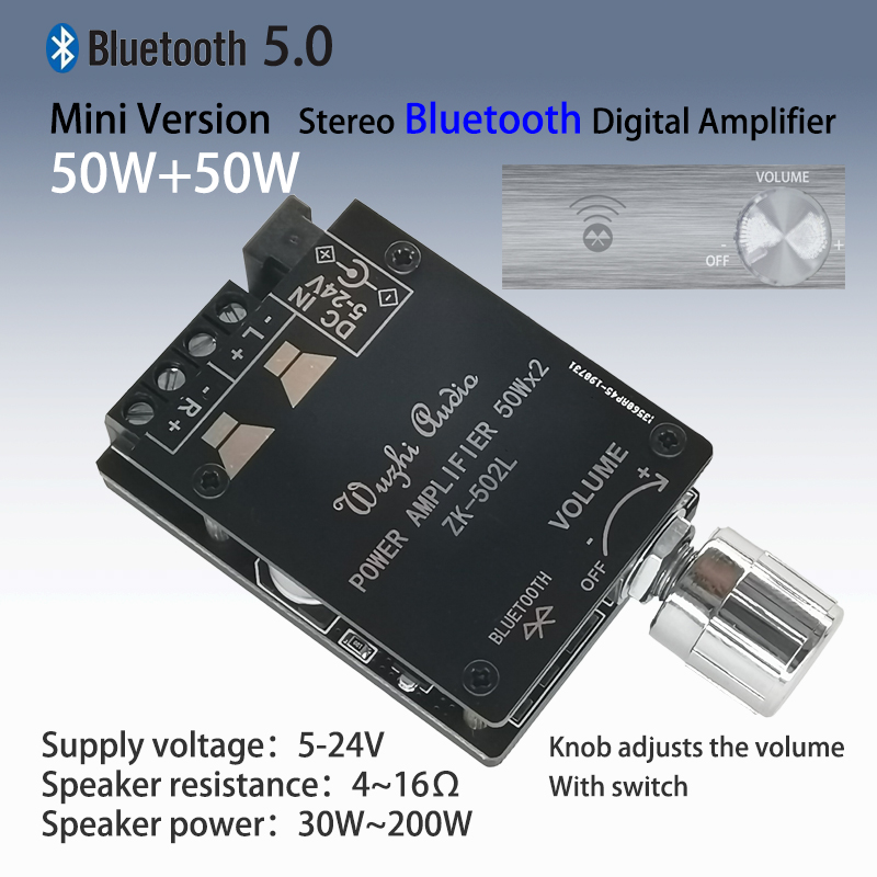 Mini Version 20W 30W 40W 50WX2 Bluetooth 5.0 Digital Power Amplifier Board With Switch And Adjustable Volume