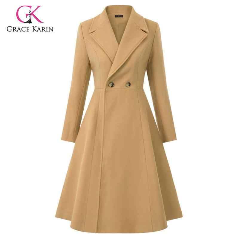 Grace karin 2019 mistura de lã inverno casaco manga longa lapela trench coat feminino inverno quente longo peacoat outwear elegante feminino