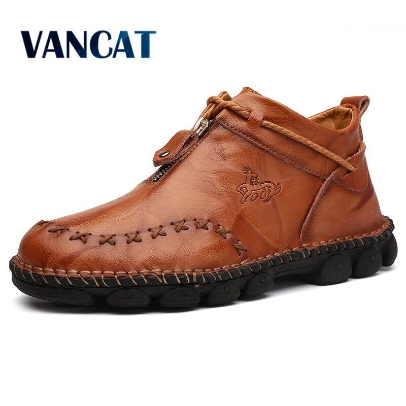 New Autumn Winter Leather Men Boots High Help Winter Men's Ankle Boot Comfortable Motorcycle Boots Men's Shoes Plus Size 38-48