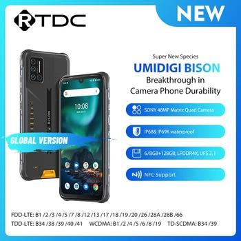 "UMIDIGI BISON 6.3"" FHD+ Display IP68/IP69K Waterproof Rugged Phone 6GB 128GB Smartphone 48MP NFC Android 10 5000mAh Mobile Phone 1"