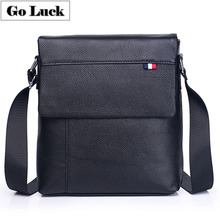 GO-LUCK Brand Classic Black Flap Bussiness Ipad Pack Genuine Leather Men Messenger Bag Mens Crossbody Shoulder Bags