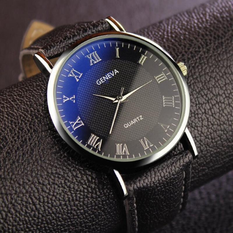 Fashion Men Watch Business Quartz Watch Leather Wristwatch Brand Casual Roman Numerals Watch Clock