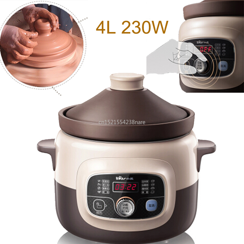 Smart Reservation+Timing Mute Electric Slow Cooker 4L 230W Electric Stew Pot With Natural Purple Sand Liner LCD Soup Pot