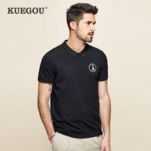 Polo-Shirts KUEGOU Short-Sleeves Slim-Top Printing Black White Men's Plus-Size Fashion