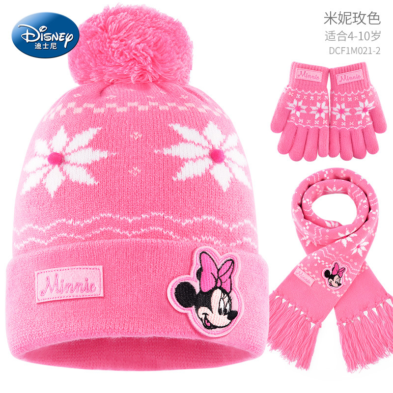 Minnie Mouse Scarf+Gloves+Beanie Set Girl Mickey Mouse Hat Cotton Warm Winter