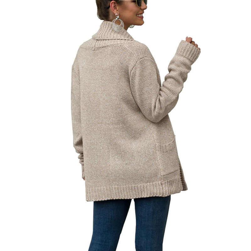 سترة النساء سترة 2019 طويلة الأكمام جيب الخريف والشتاء جديد أوروبا warmn ملابس الشتاء النساء Vestidos MMY77034