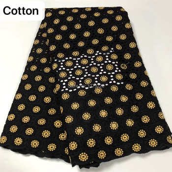 New Black/Gold Swiss Voile Lace Fabric 100%Cotton 2019 African Swiss Voile Lace In Switzerland High Quality French For Wedding