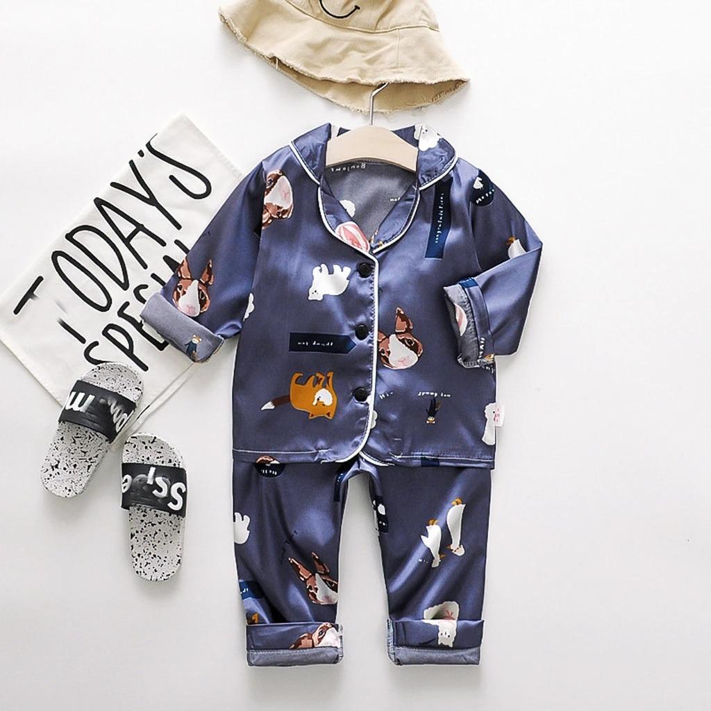 Toddler Baby Boys Girls Long Sleeve Tops+Pants Pajamas Sleepwear Outfits New