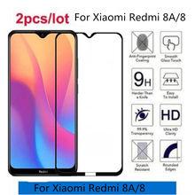 Capa protetora para smartphone, case protetor, cola completa, vidro temperado, para xiaomi redmi 8, 2gb, 32gb filme de vidro 3gb 32gb