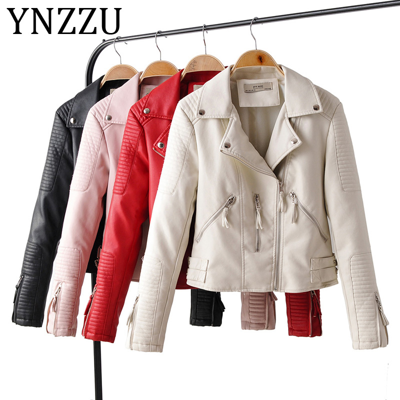 YNZZU 2019 New Fashion Women Soft Faux   Leather   Jackets Casual Autumn Motorcycle Zipper Biker Pink Coat Ladies Outerwear A1131