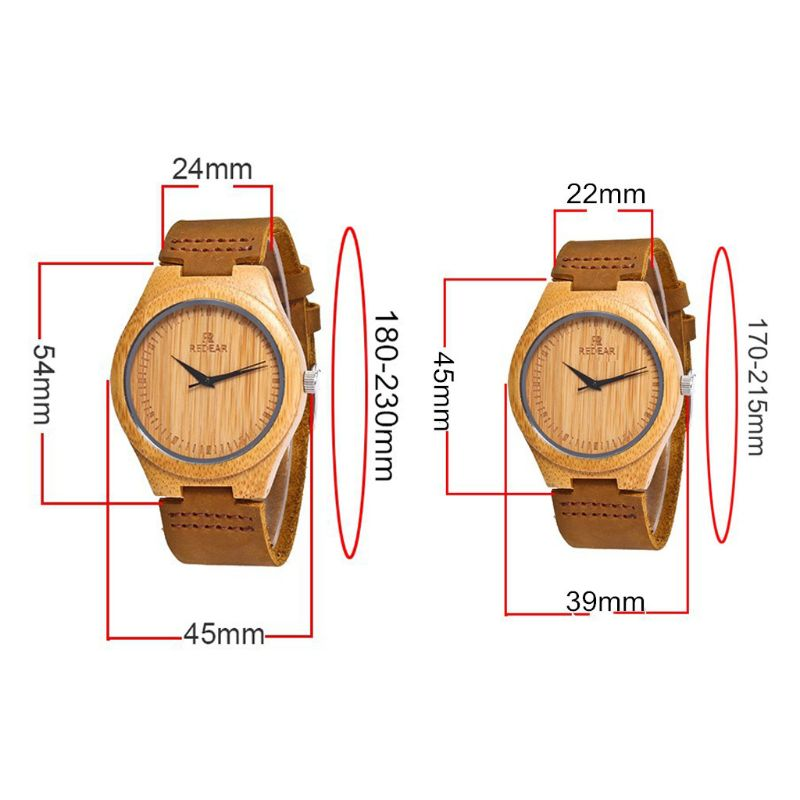 Luxury Men's Women's Bamboo Wood Watch Quartz Leather Fashion Wristwatches