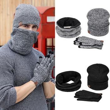 IWINTER Winter Beanie Hat For Men Women Hat Scarf Warm Scarf Hat Gloves Set Male Female Hat Scarf Set 3 Pcs Skullies Beanies 1