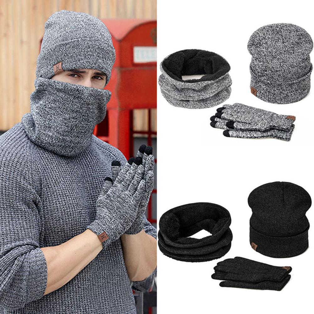 IWINTER Winter Beanie Hat For Men Women Hat Scarf Warm Scarf Hat Gloves Set Male Female Hat Scarf Set 3 Pcs Skullies Beanies