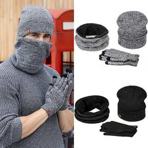 Hat Gloves-Set Beanie Warm WINTER Women 3pcs for Scarf Male Skullies