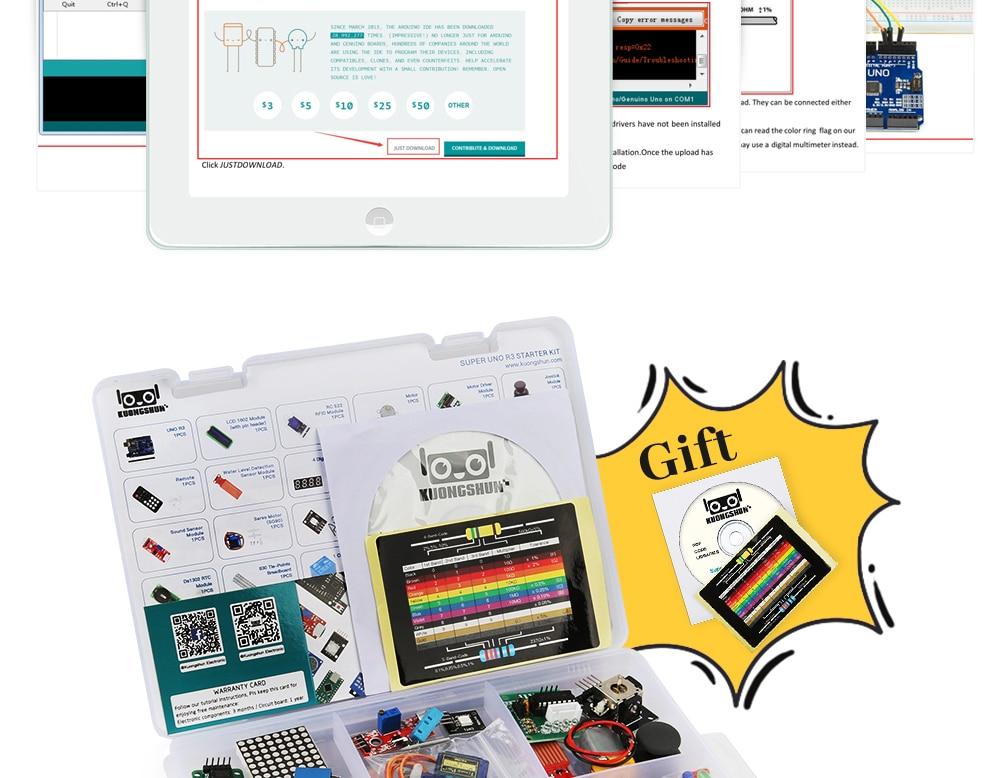 2019 najbardziej opłacalne DIY projekt startowy elektroniczny zestaw do majsterkowania z samouczkiem kompatybilny z Arduino IDE UNO R3 CH340 12