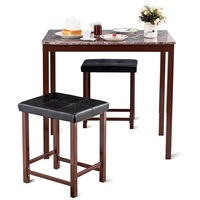 3 Pcs Counter Height Faux Marble Dining Set Table and Chair Set Modern and Upscale Furniture Backless Upholstered Stools HW59350