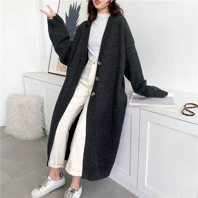 [EAM] Gray Big Size Long Knitting Cardigan Sweater Loose Fit V-Neck Long Sleeve Women New Fashion Tide Autumn Winter 2021 Y204 4