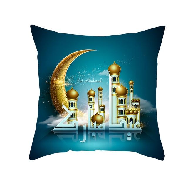 45X45CM Islamic Eid Mubarak Decorations For Home Pillowcase Ramadan Cotton Sofa Muslim Mosque Cushion Cover Decor