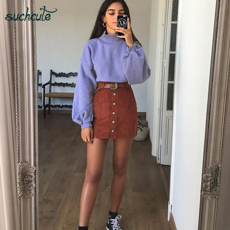SUCHCUTE Turtleneck Women Hoodies Causal Female Overalls Gothic Tops Kpop Autumn Winter 2019 Streetwear Korean Style Sweatshirts