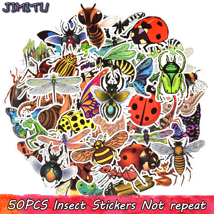 50 PCS Insect Stickers Cartoon Nature Insects Butterfly Educational Sticker For Children DIY Scrapbooking Laptop Luggage Tablet