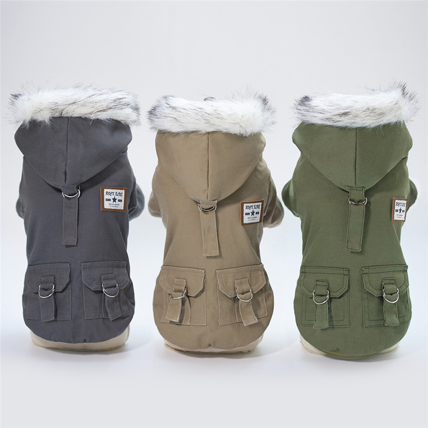 Thicken and Warm Dog Jacket with Hoodie and Pockets to Protect Dog from Cold