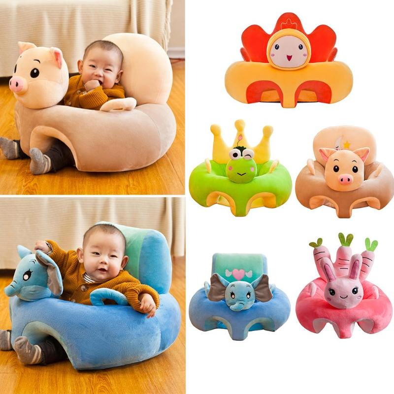 Cartoon Baby Sofa Cover Support Seat Cover Case Plush Baby Chair Learning To Sit Feeding Chair Soft Plush Toys Seat Cover
