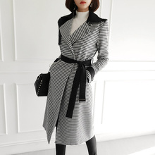 HAMALIEL Новинка осенне-зимнее женское Шерстяное пальто высокого качества твидовое клетчатое лоскутное двубортное винтажное шерстяное пальто с поясом