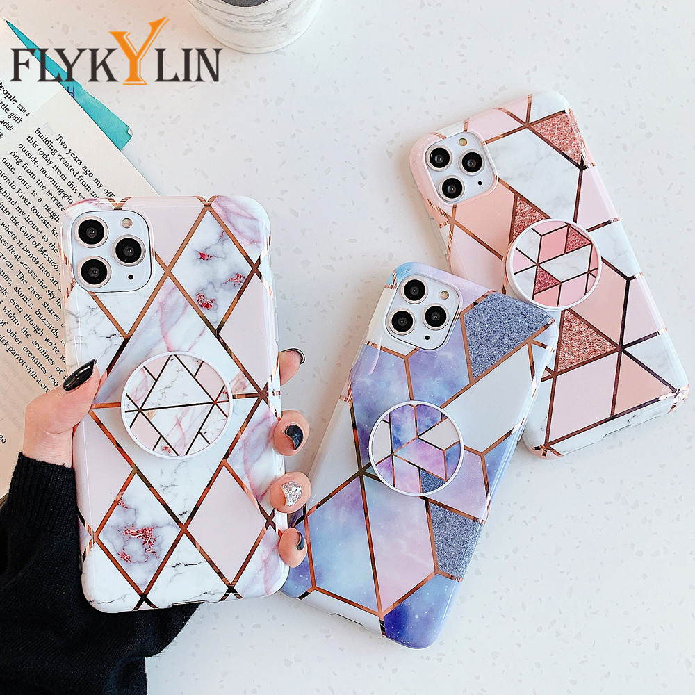 FLYKYLIN Holder Stand <font><b>Case</b></font> For <font><b>iPhone</b></font> XR XS 11 Pro Max <font><b>X</b></font> 7 8 6 6S Plus SE 2020 Back Cover Geometric Marble Silicone Phone Coque image
