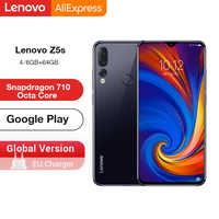Versão global lenovo z5s z5 s smartphone snapdragon 710 octa núcleo face id 6.3 polegada android p triplo câmera traseira smartphone