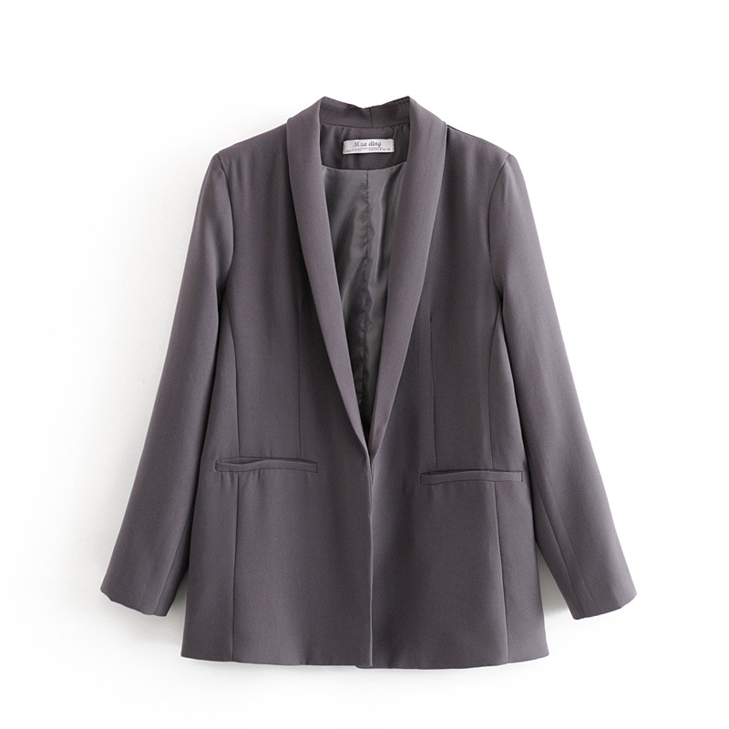 Casual loose ladies blazer 2020 spring and summer fashion mid-length jacket feminine Retro Buttonless Small Suit Top