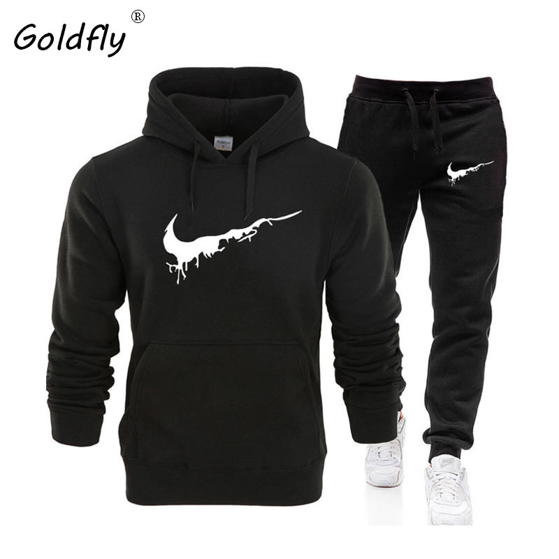 Goldfly New Hot Two Pieces Set Fashion Hoodies Sportswear Men Tracksuit Hoodie Autumn Men Brand Clothes Hoodies+Pants Sets
