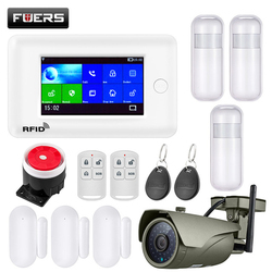 FUERS WIFI GSM GPRS smart Home Security Alarm System 4.3 inch Color Screen APP RFID control smoke detector PIR Motion detector