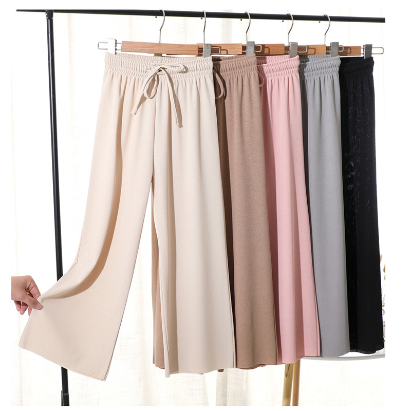 2020 Women Oversize Casual Loose Wide Leg Pant Fashion High Waist Ankle Length Sweat Trousers Female New Cool Palazzo Pants